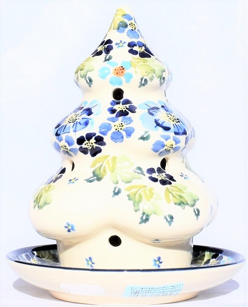 Pottery Avenue TRUE BLUES Christmas Tree Candle Holder   ARTISAN
