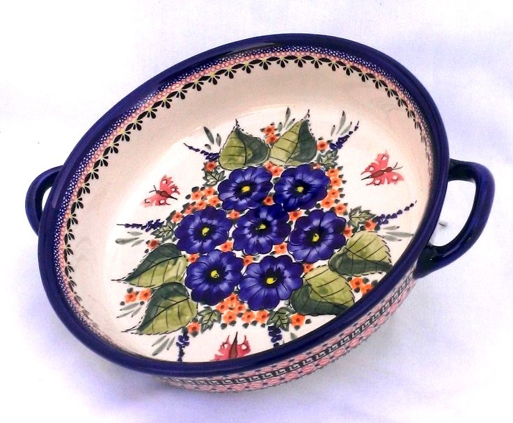"Pottery Avenue 10"" STRAWBERRY BUTTERFLY Handled Round Baker 