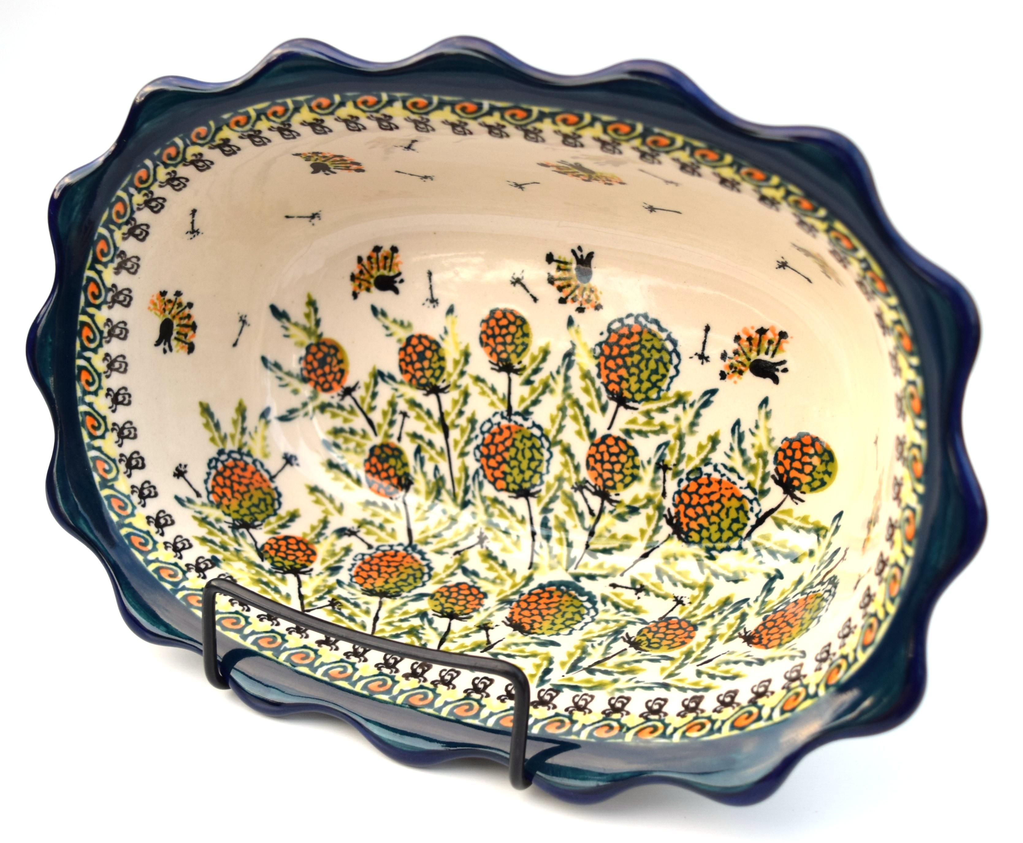 """Pottery Avenue 9.6"""" WISHFUL Fancy Rimmed Soup Bowls   ARTISAN"""