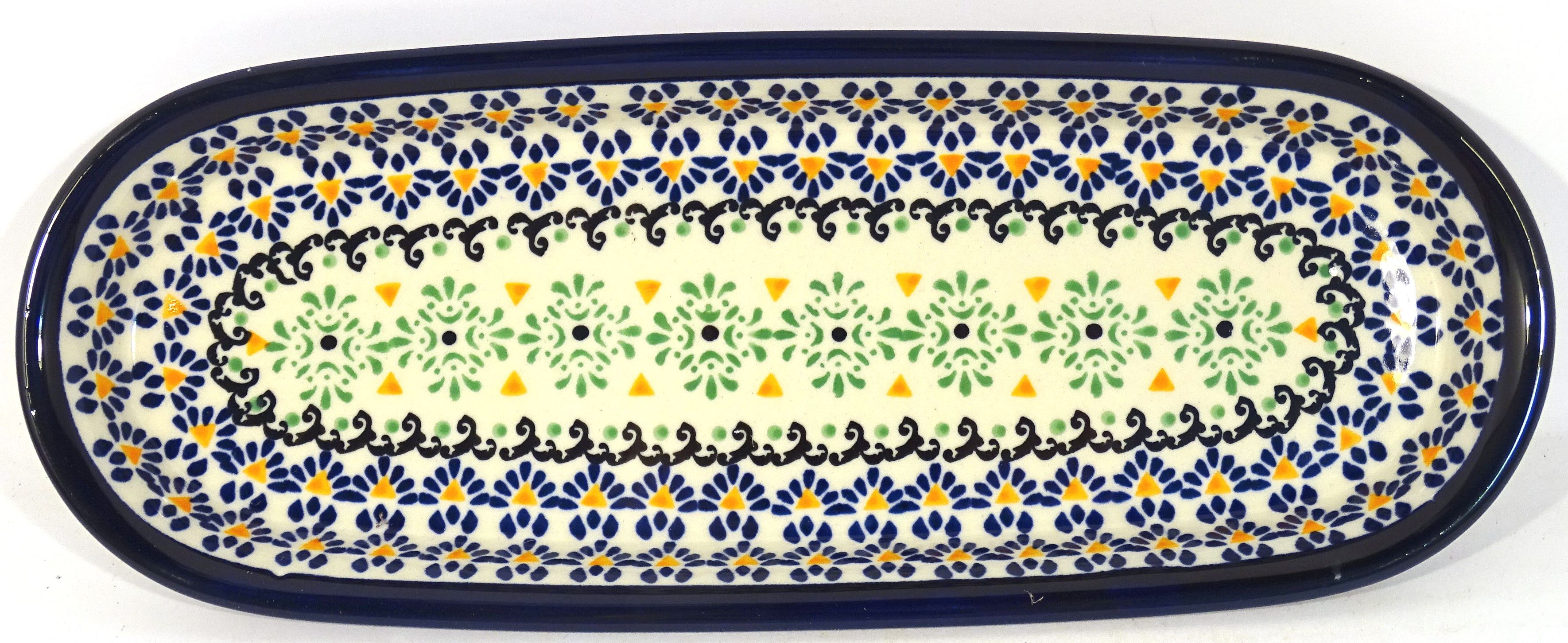 """Pottery Avenue 11"""" FANFAIR Cracker-Olive Stoneware Tray 