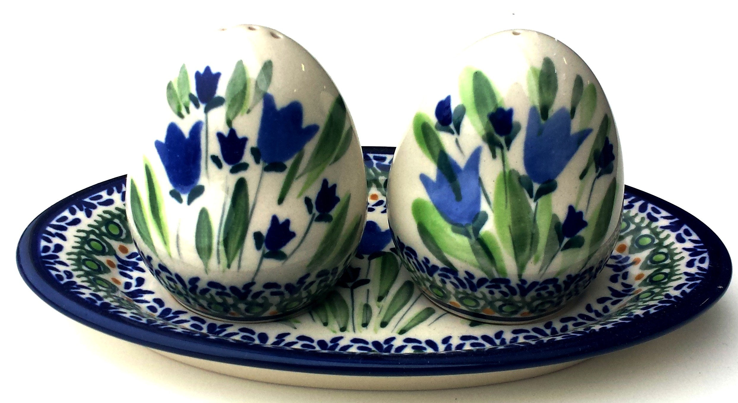 Pottery Avenue BLUE TULIP Salt And Pepper Set   UNIKAT