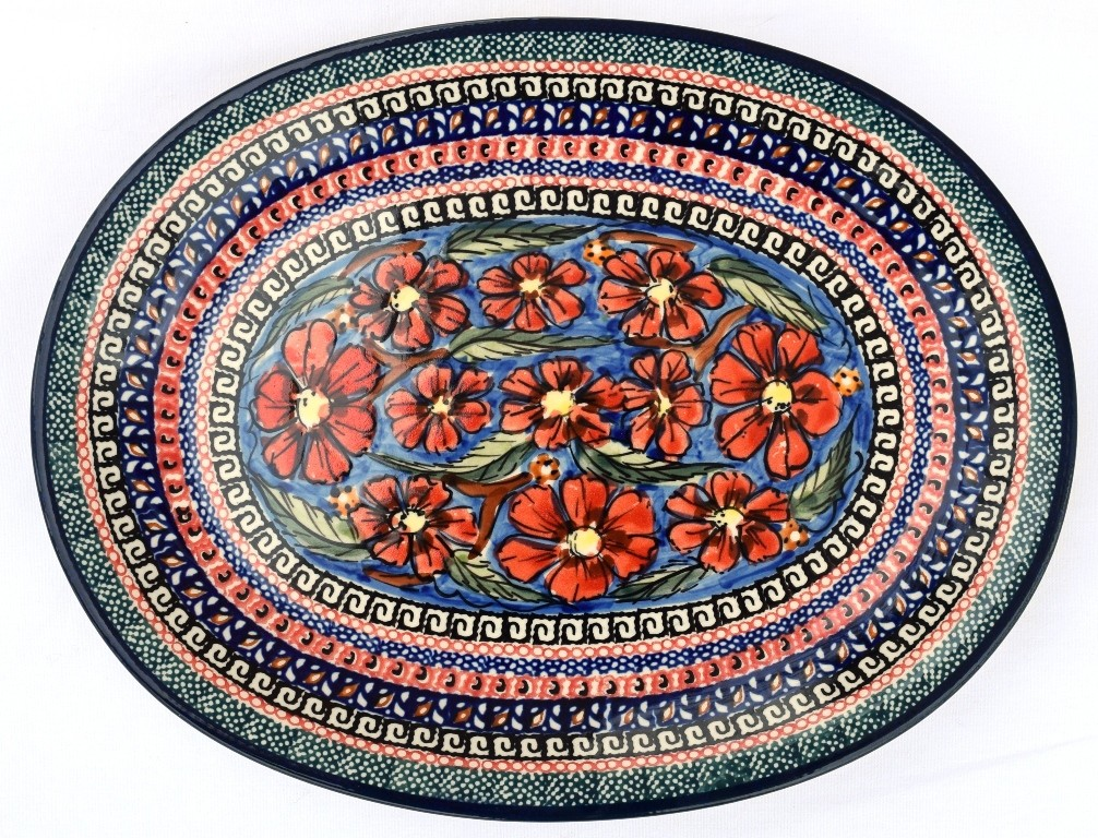 "Pottery Avenue 11.5"" Oval Plate   UNIKAT"