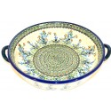 "Pottery Avenue 10"" SEA GARDEN Round Serving Trays With Handles 