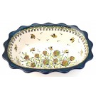 "Polish Pottery  11.5"" Fancy Rimmed Dish 