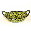 "Pottery Avenue 13"" BLUE CITRINE Baker Bowl With Handle 