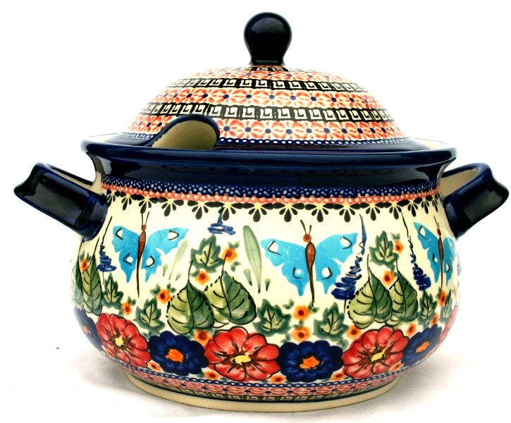 """11 x 8.18"""" Tall Soup Tureen 12.5 Cup BUTTERFLY MERRY MAKING"""