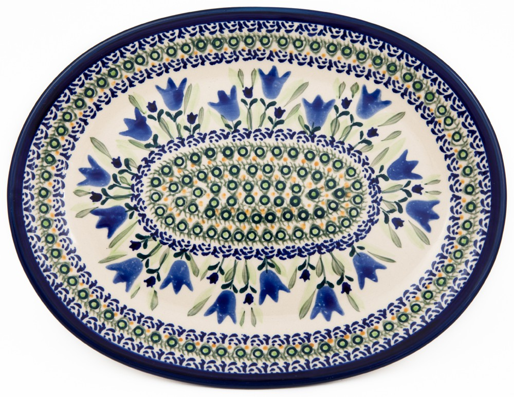 POLISH POTTERY STONEWARE BLUE TULIPS | Oval Plate