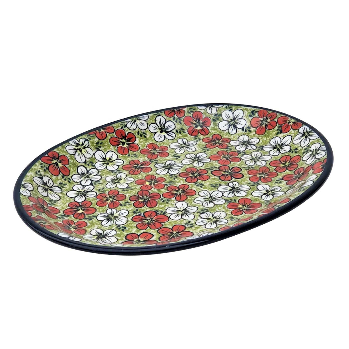 "Pottery Avenue Red Bacopa 11.5""  Oval Stoneware Platter - Plate"
