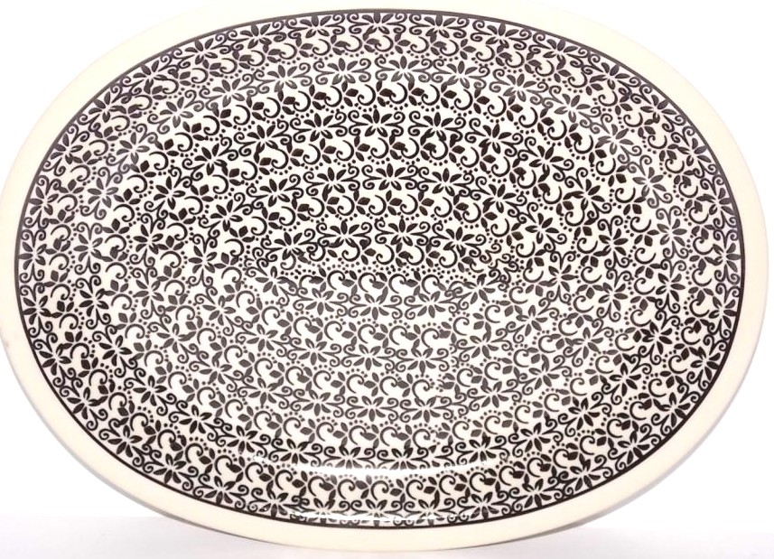 "Pottery Avenue Elegant Times 11.5"" Oval Stoneware Platter - Plate"