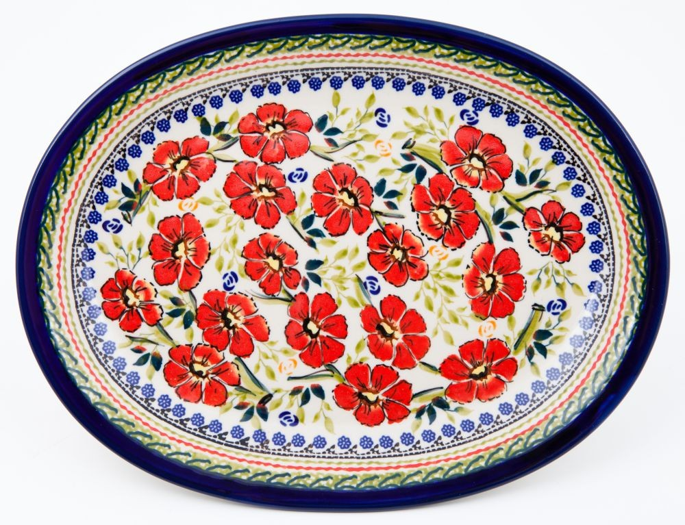 "Polish Pottery 11.5"" LOVE BLOSSOMS Oval Plate 