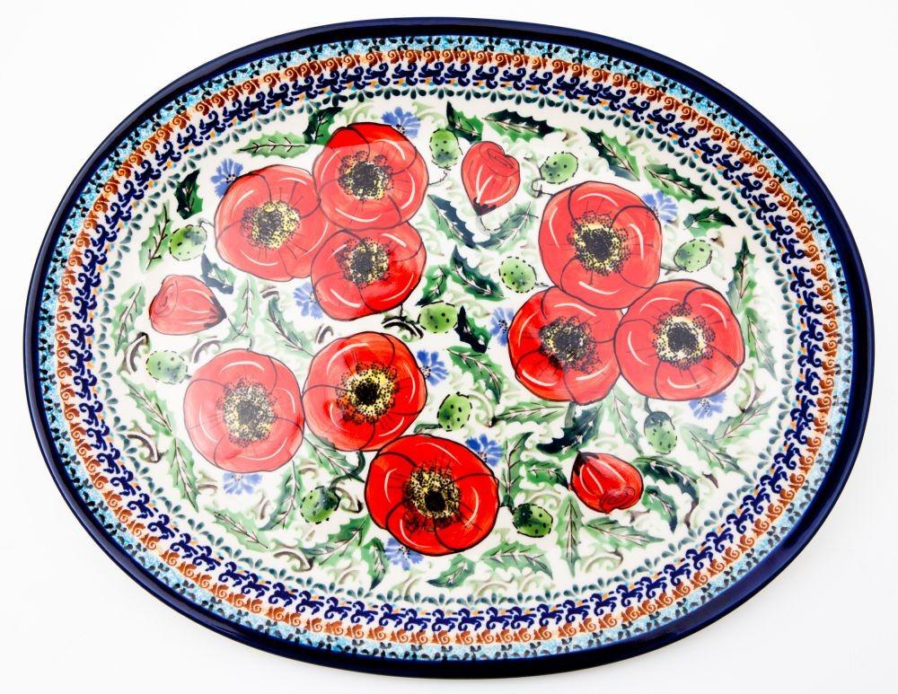 "Polish Pottery 11.5"" BELLISSIMA Oval Plate | EX UNIKAT"