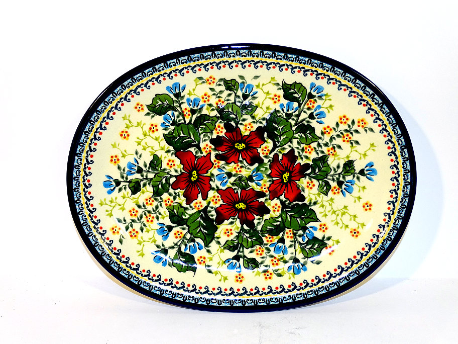 "Polish Pottery 11.5"" WARM GLORY Oval Plate | EX UNIKAT"