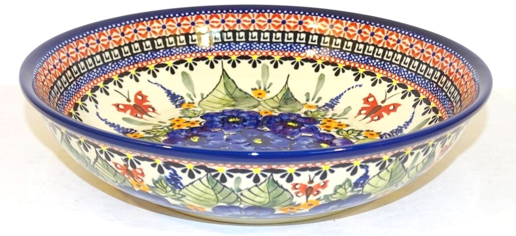 """Pottery Avenue Strawberry Butterfly 10"""" All Purpose Stoneware Bowl - 1013-208AR"""
