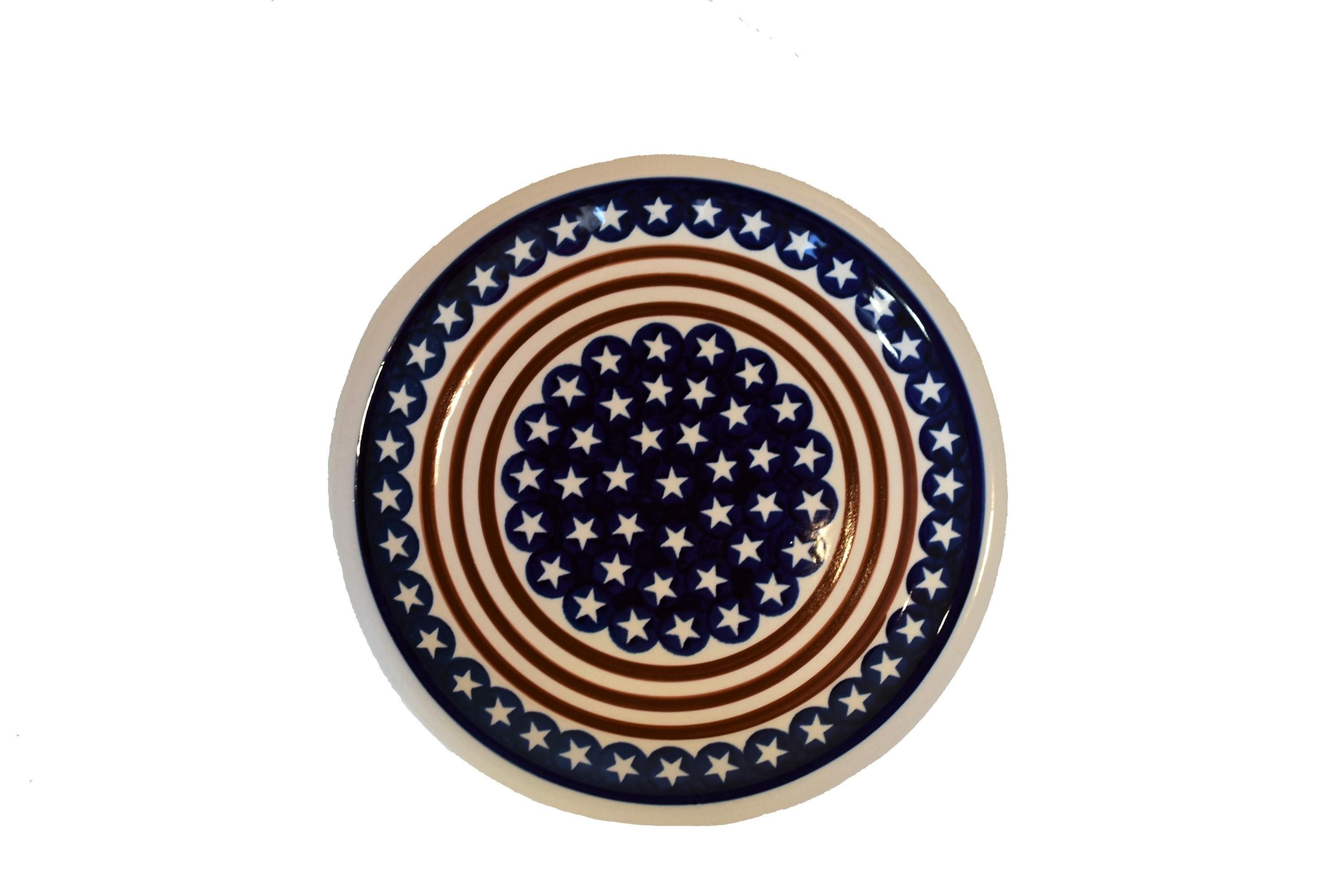 "Polish Pottery STARS N STRIPS 11"" Stoneware Dinner Plate   CLASSIC"