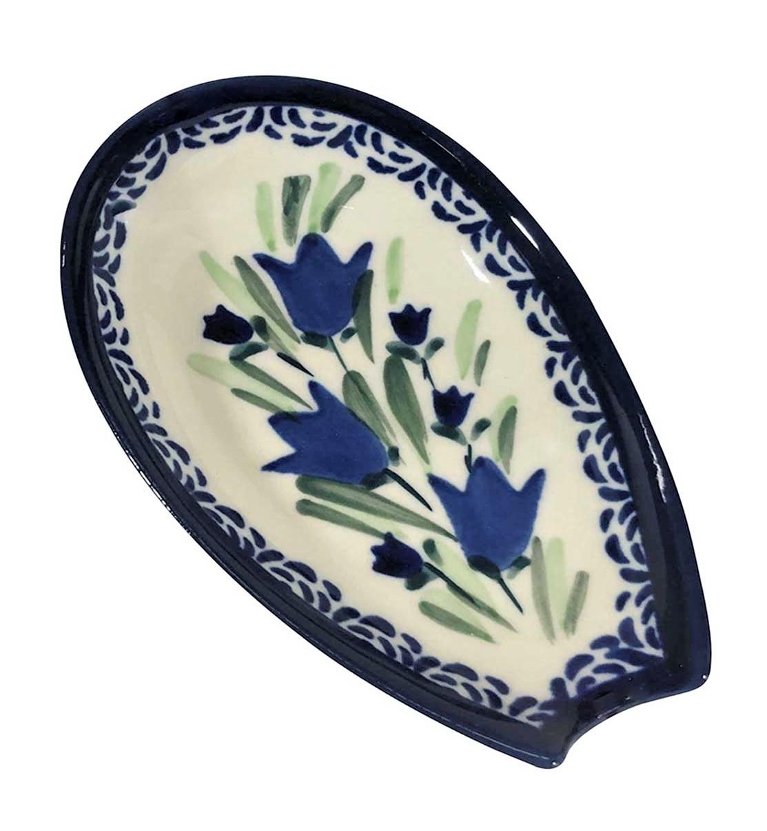 "Pottery Avenue Blue Tulip 5"" Stoneware Spoon Rest - 1015-160AR"