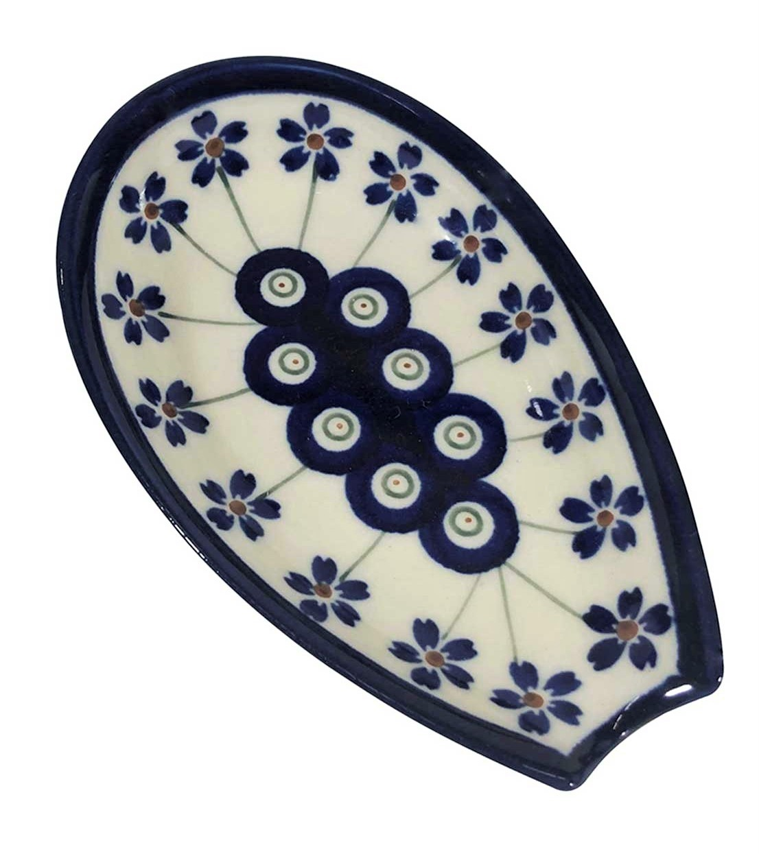 """Pottery Avenue Flowering Peacock 5"""" Stoneware Spoon Rest - 1015-166A"""