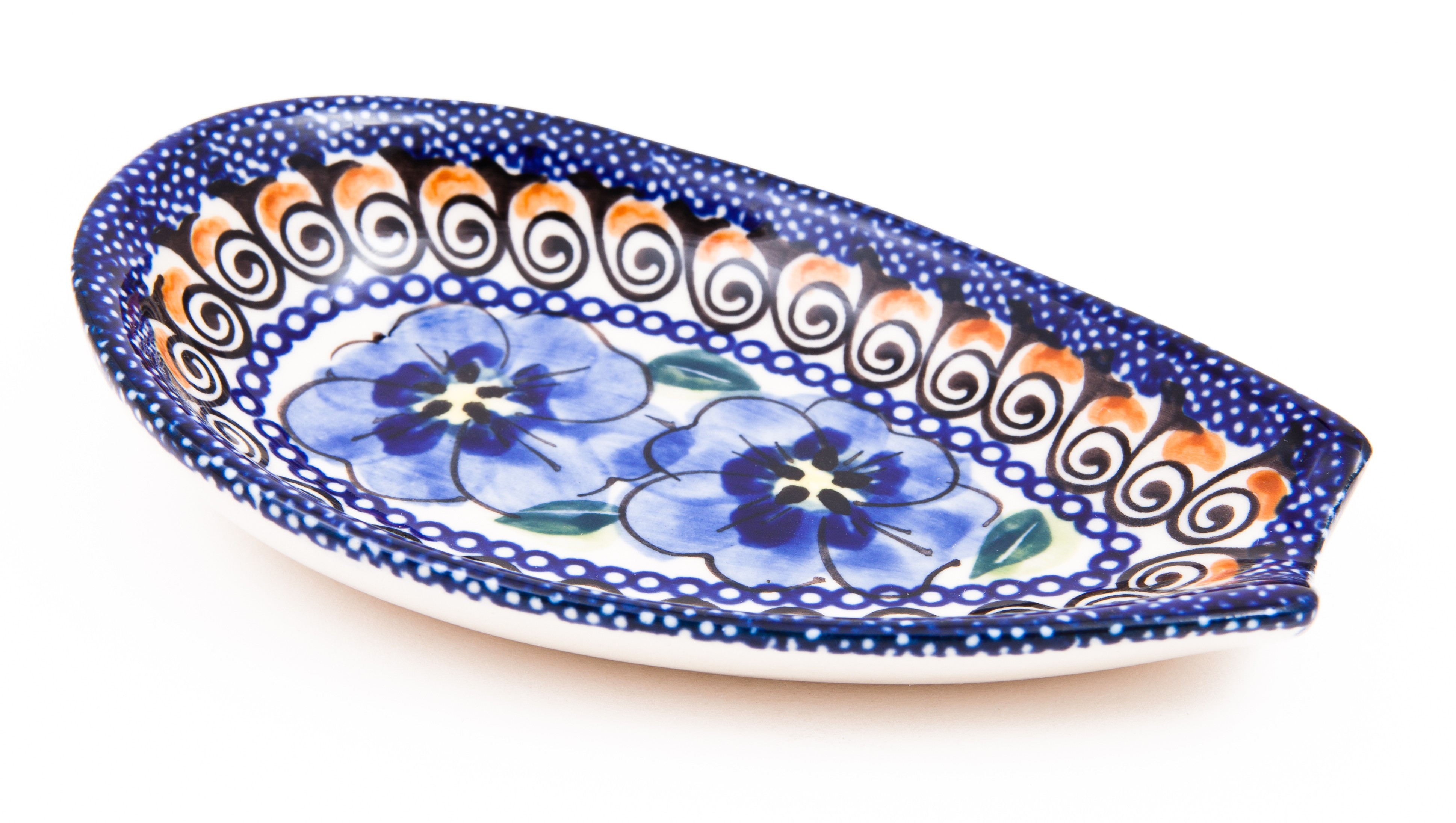 """Pottery Avenue 5"""" Stoneware Spoon Rest - 1015-148AR Blue Pansy"""