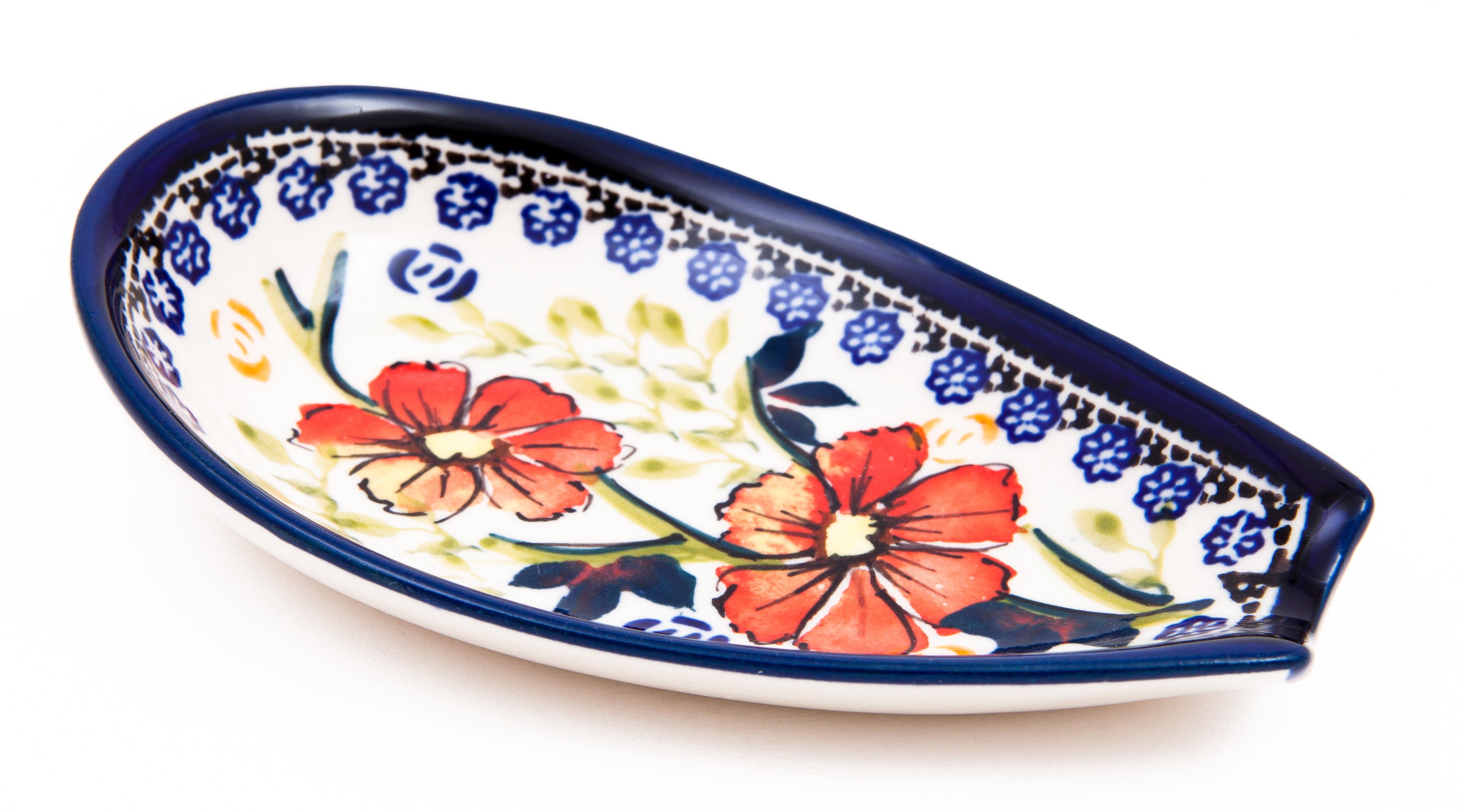 "Polish Pottery 5"" LOVE BLOSSOMS Spoon Rest |  EX UNIKAT"