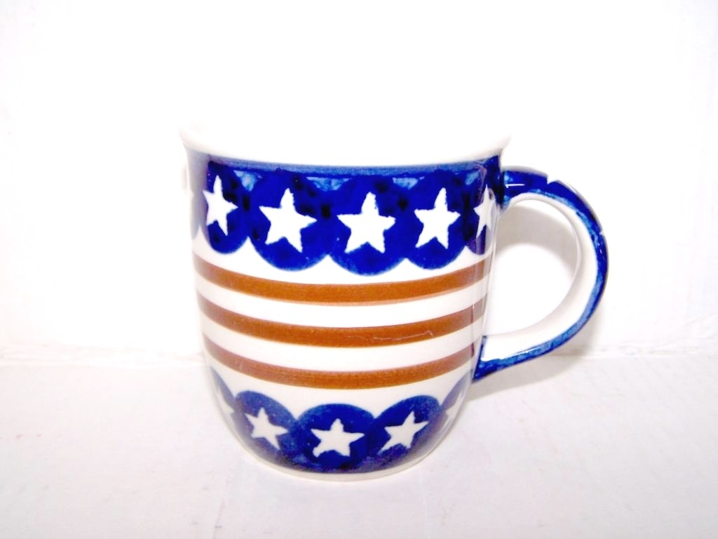 Polish Pottery 12-oz STARS & STRIPES Coffee Mug | CLASSIC