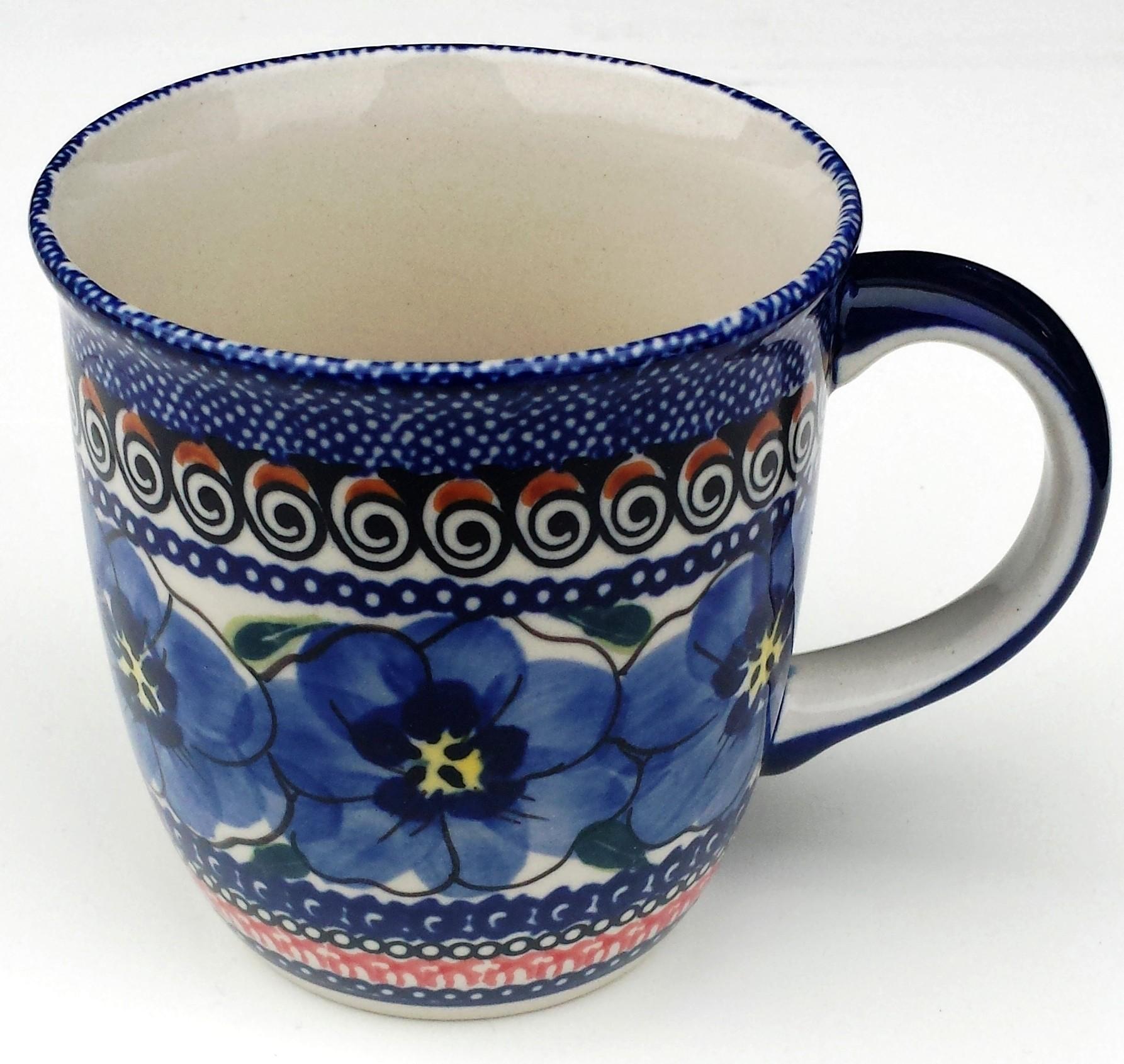 Polish Pottery BLUE PANSY 12-oz Stoneware Mug | UNIKAT