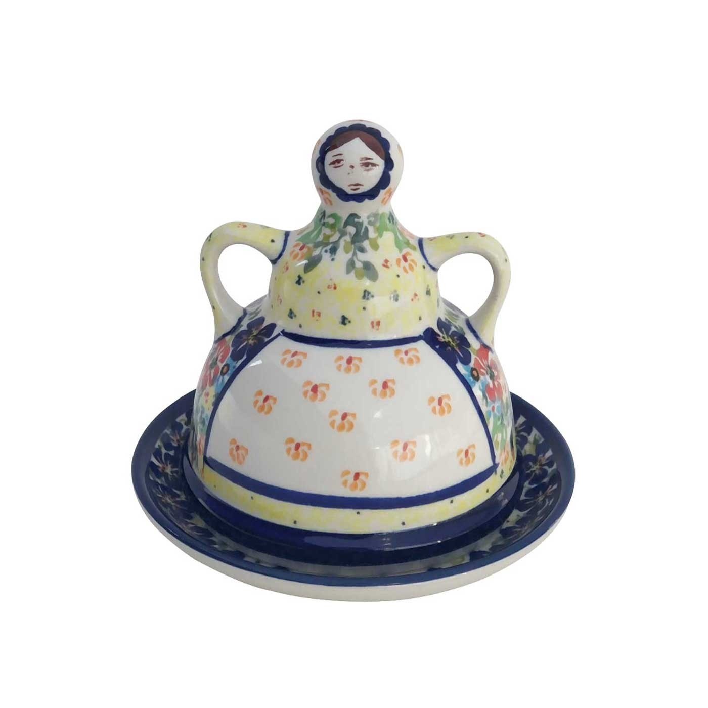 Pottery Avenue 2pc Stoneware Cheese Lady - Front - 1124-262AR Flowering Splendor