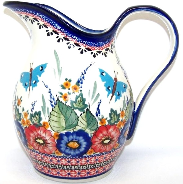 POLISH POTTERY STONEWARE PITCHER | BUTTERFLY MERRYMAKING