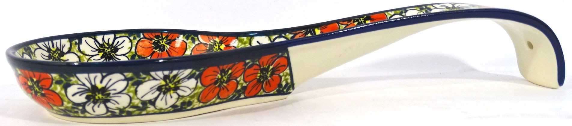 "Polish Pottery RED BACOPA 12"" Ladle-Spoon Stoneware Rest 