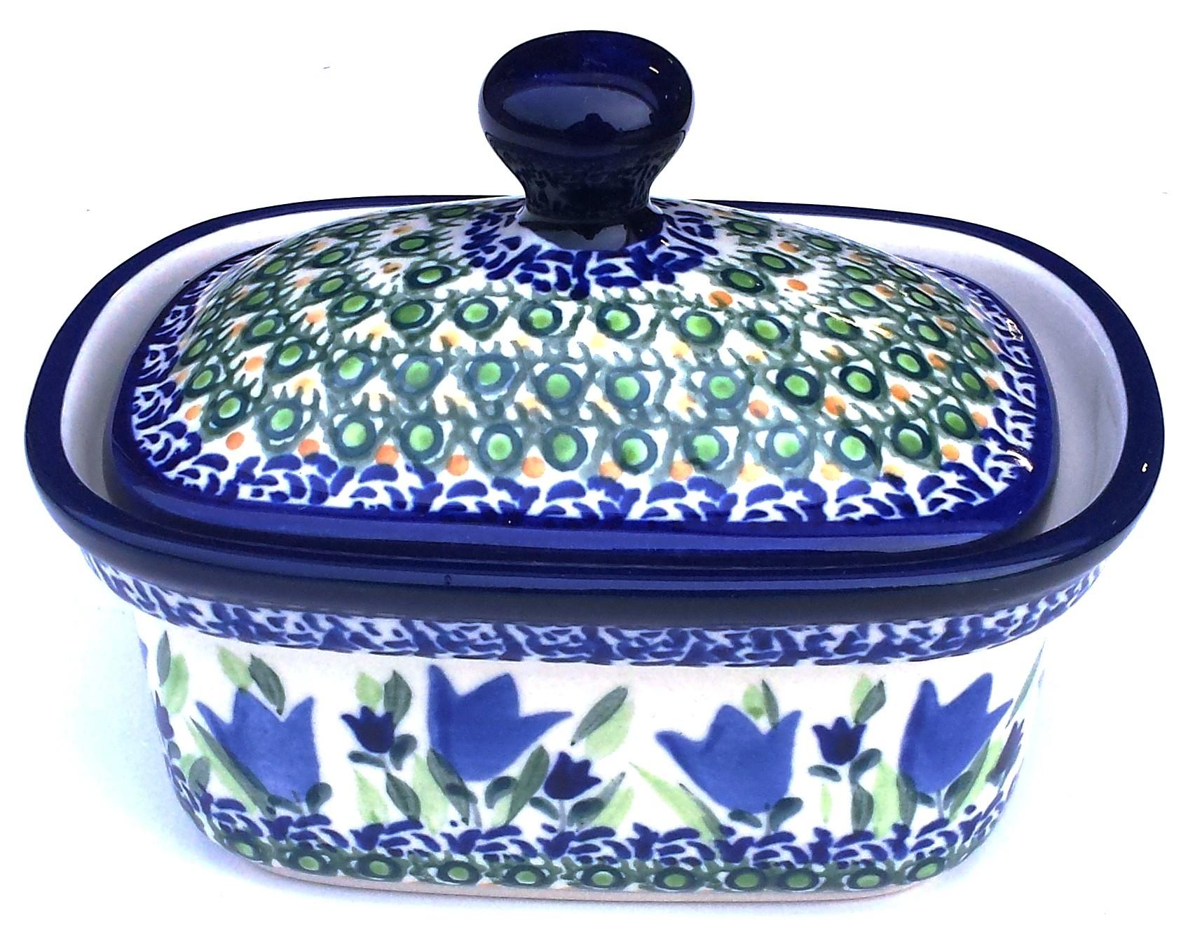 Pottery Avenue Blue Tulip 2pc Stoneware Butter Box