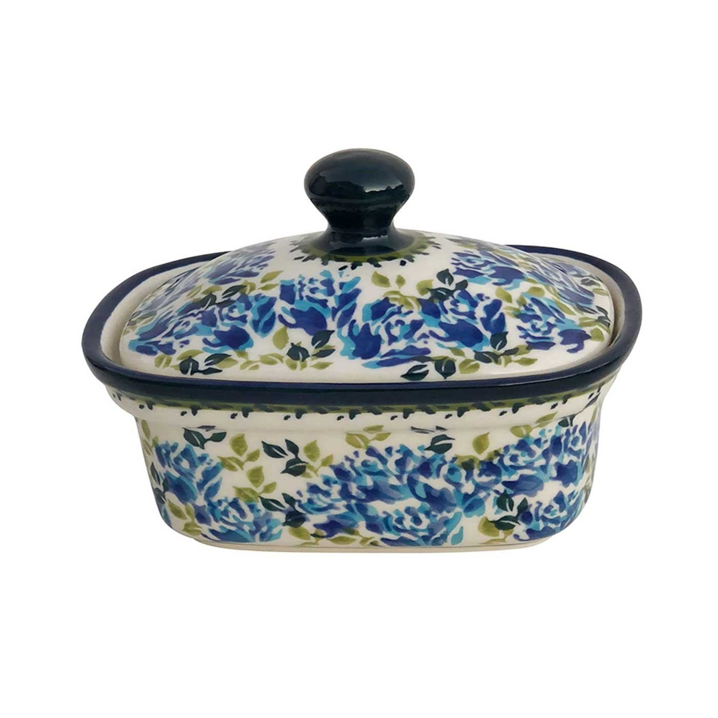 Pottery Avenue Blue Flower 2cup StonewareButter Box