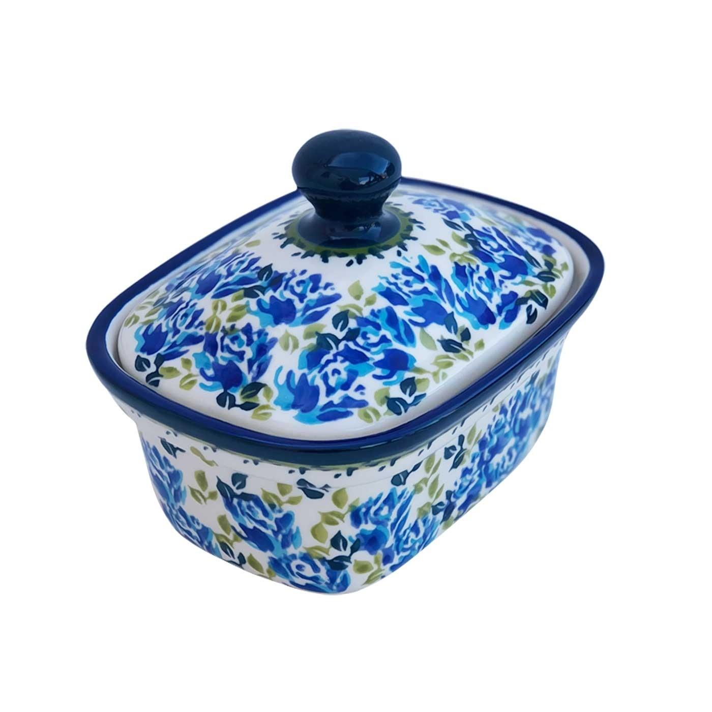 Pottery Avenue  2-Cup Stoneware Butter Box - 1188-DU208 BLUE FLOWER