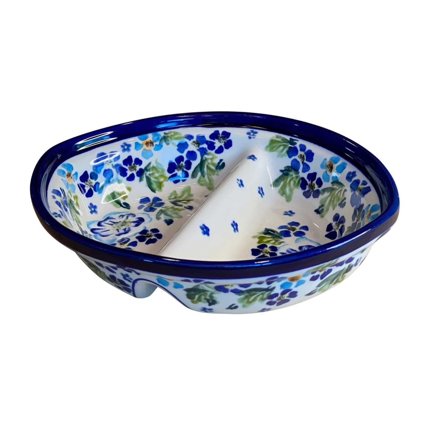 Pottery Avenue True Blues Stoneware Divided Dish