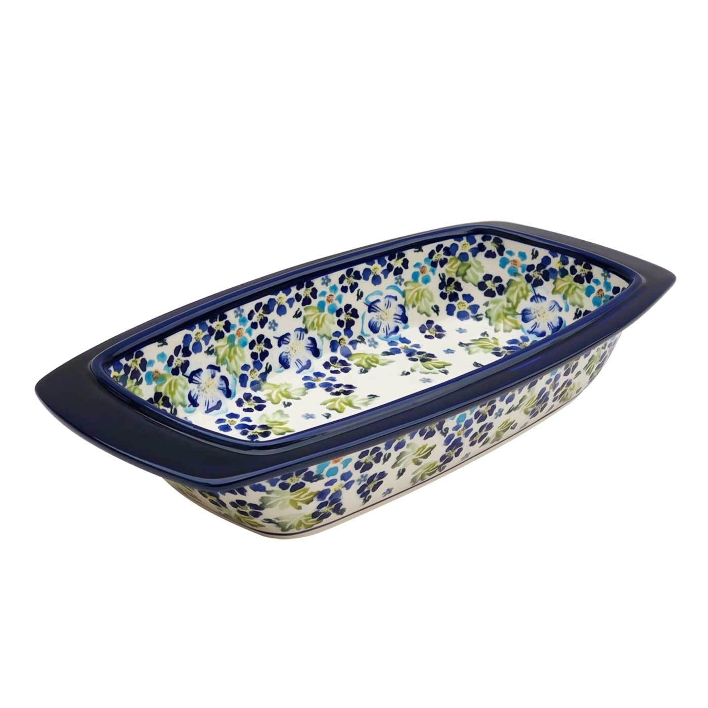 "Pottery Avenue True Blues 17"" Rectangular Stoneware Baker 