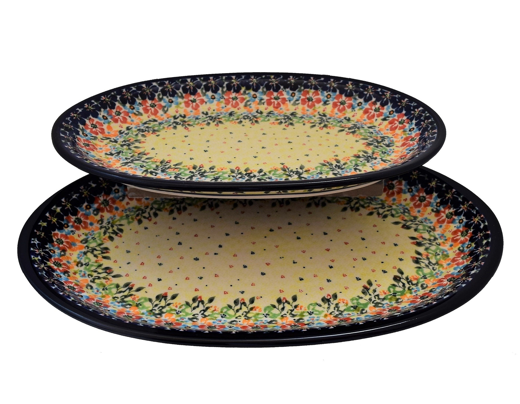 Pottery Avenue offers this 2-pc Oval Stoneware Platter Set - 126465C262 Flowering Splendor