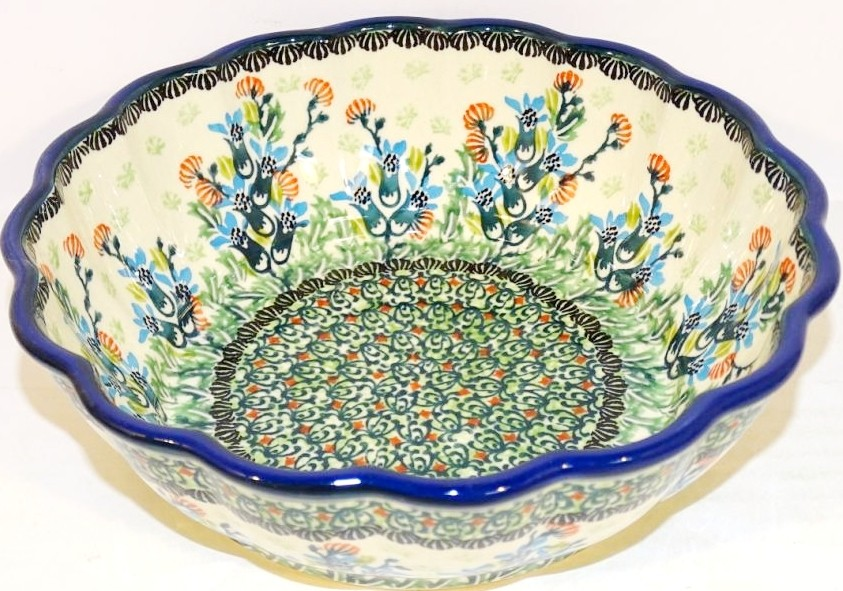 Polish Pottery SEA GARDEN Scalloped Stoneware Serving Bowl | ARTISAN