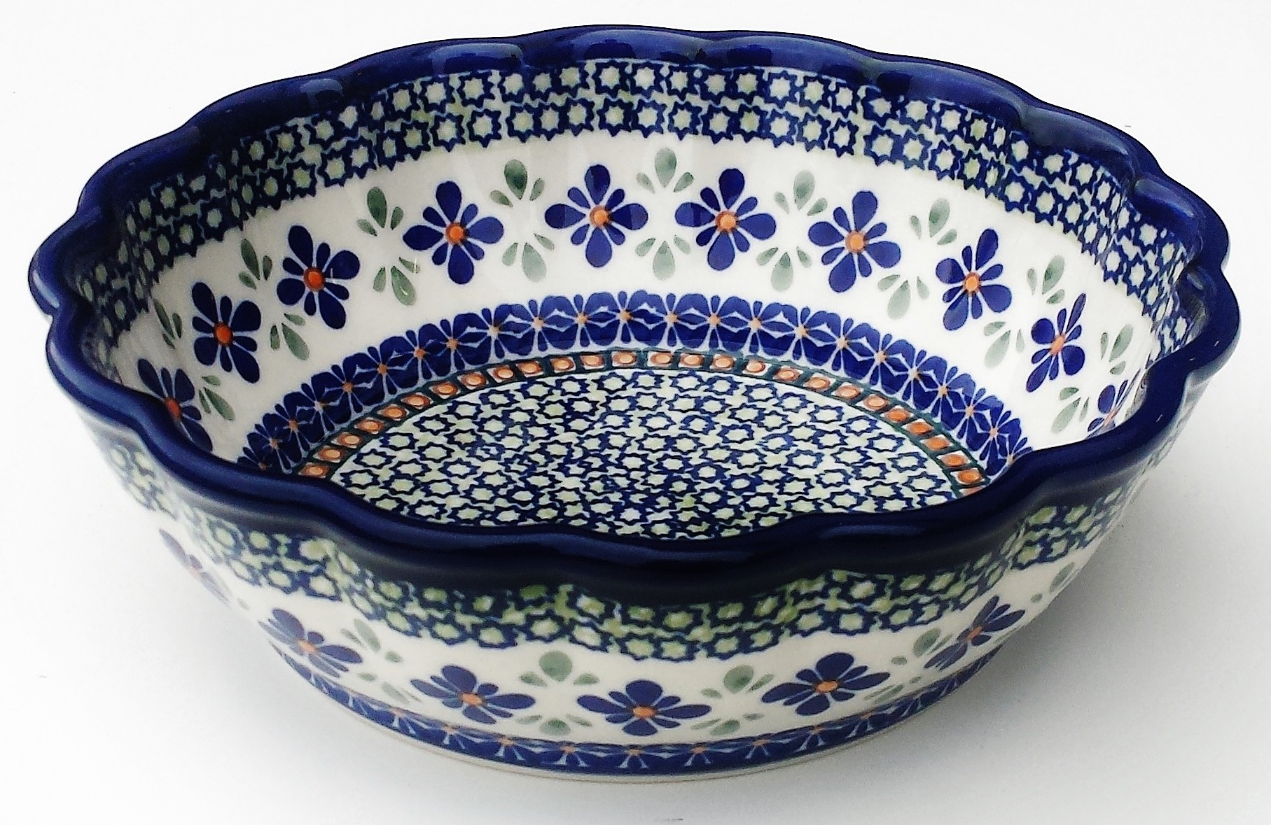 Polish Pottery SWEETIE PIE Scalloped Stoneware Serving Bowl | ARTISAN
