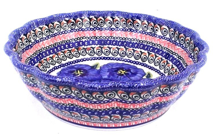 Pottery Avenue Blue Pansy Scalloped Stoneware Severing-Baker Bowl - 1278-148AR Blue Pansy
