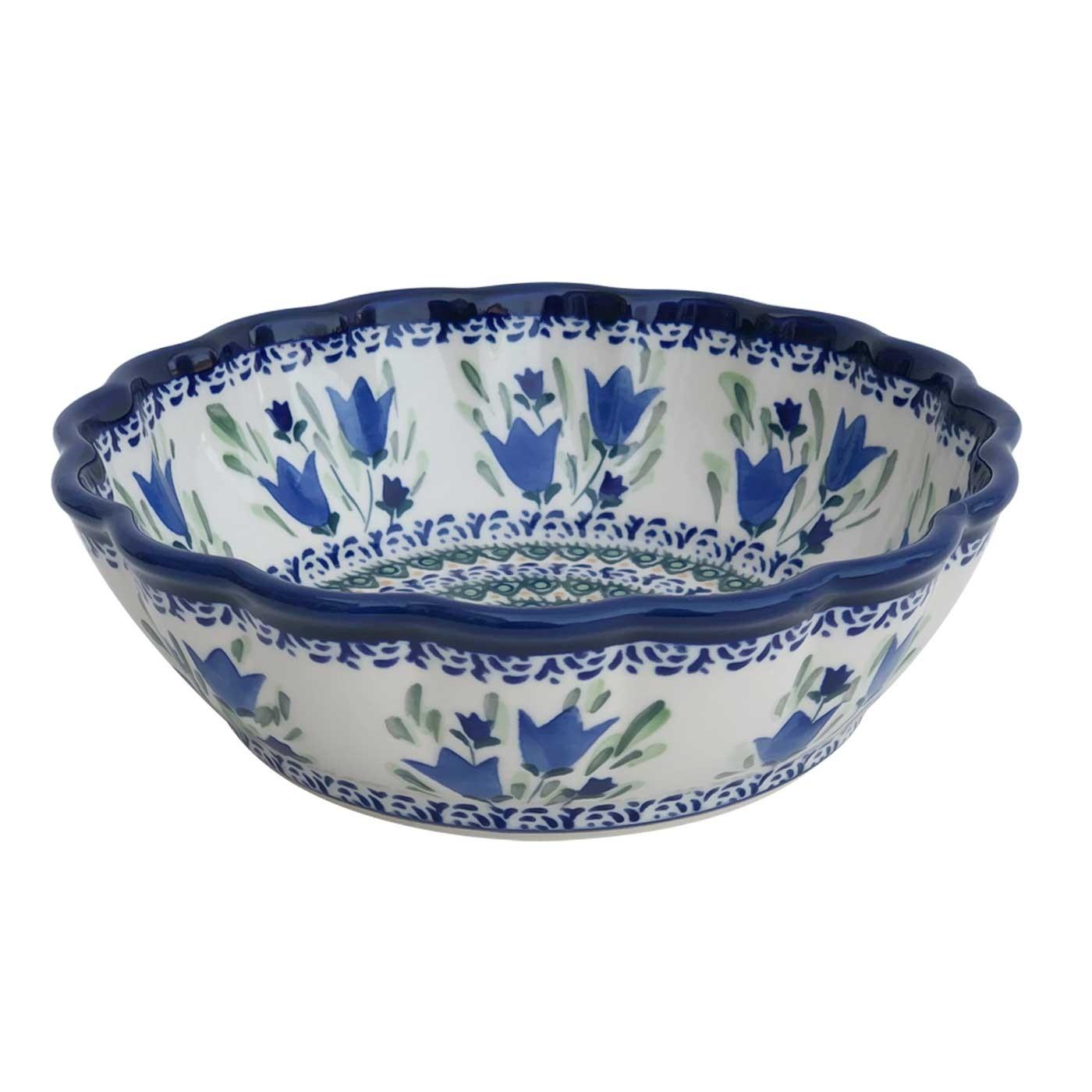 "Pottery Avenue Blue Tulips 8.5"" Scalloped Stoneware Bowl"