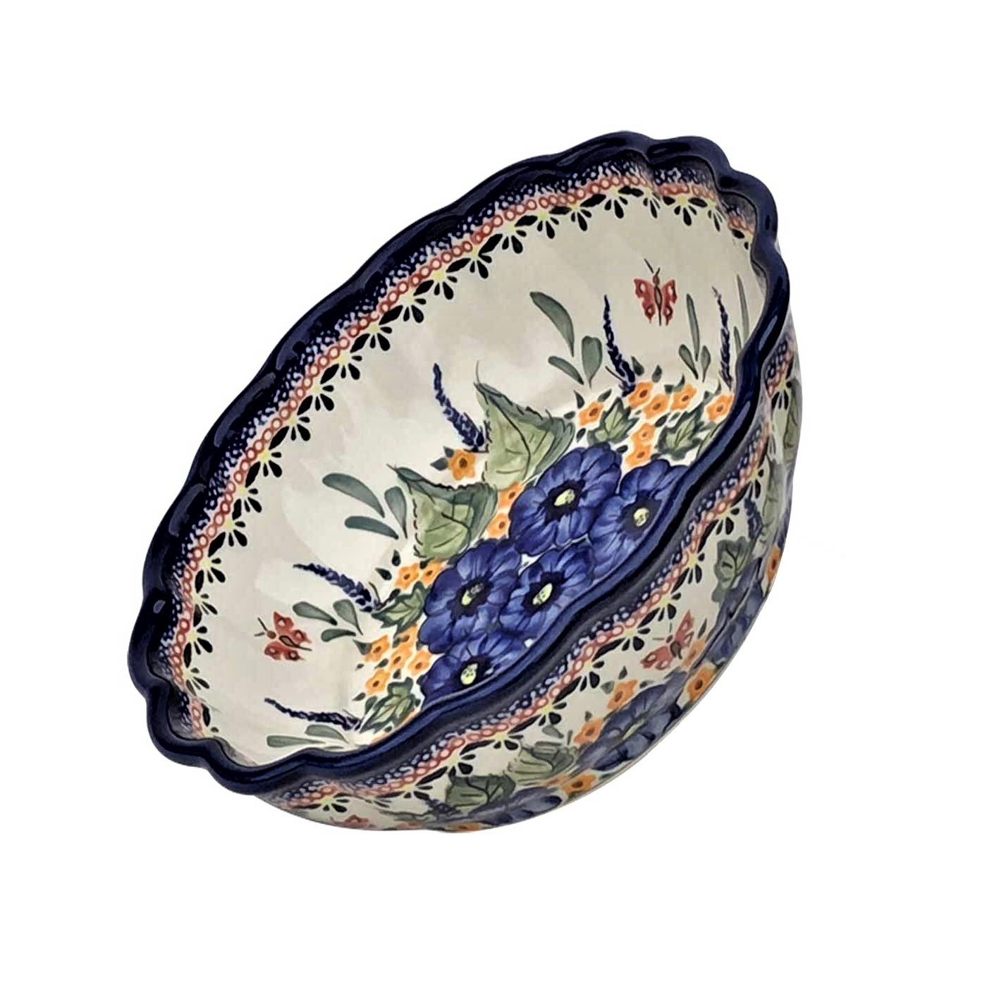 Pottery Avenue Scalloped Stoneware Serving-Baker Bowl - 1278-208AR Strawberry Butterfly