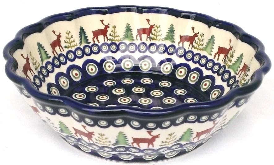 Polish Pottery CARIBOU LODGE Scalloped Stoneware Serving Bowl | CLASSIC