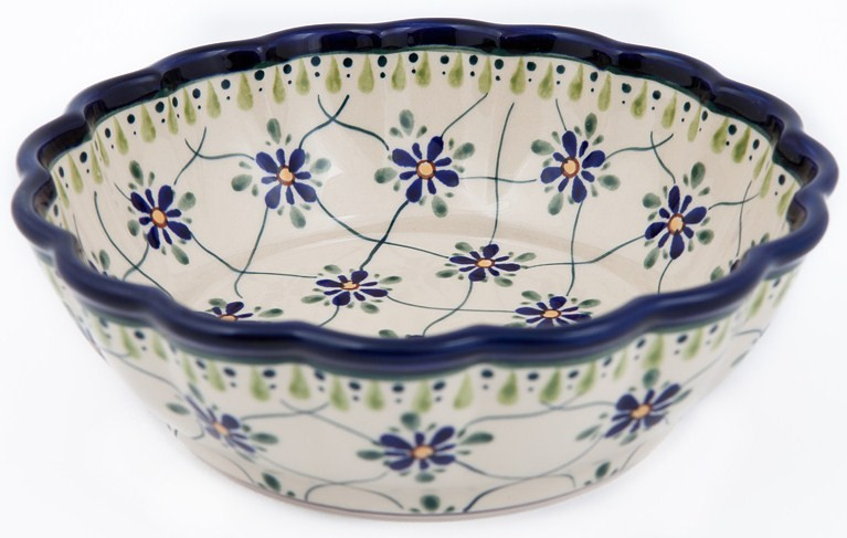 Polish Pottery SWEETHEART Scalloped Stoneware Serving Bowl | ARTISAN