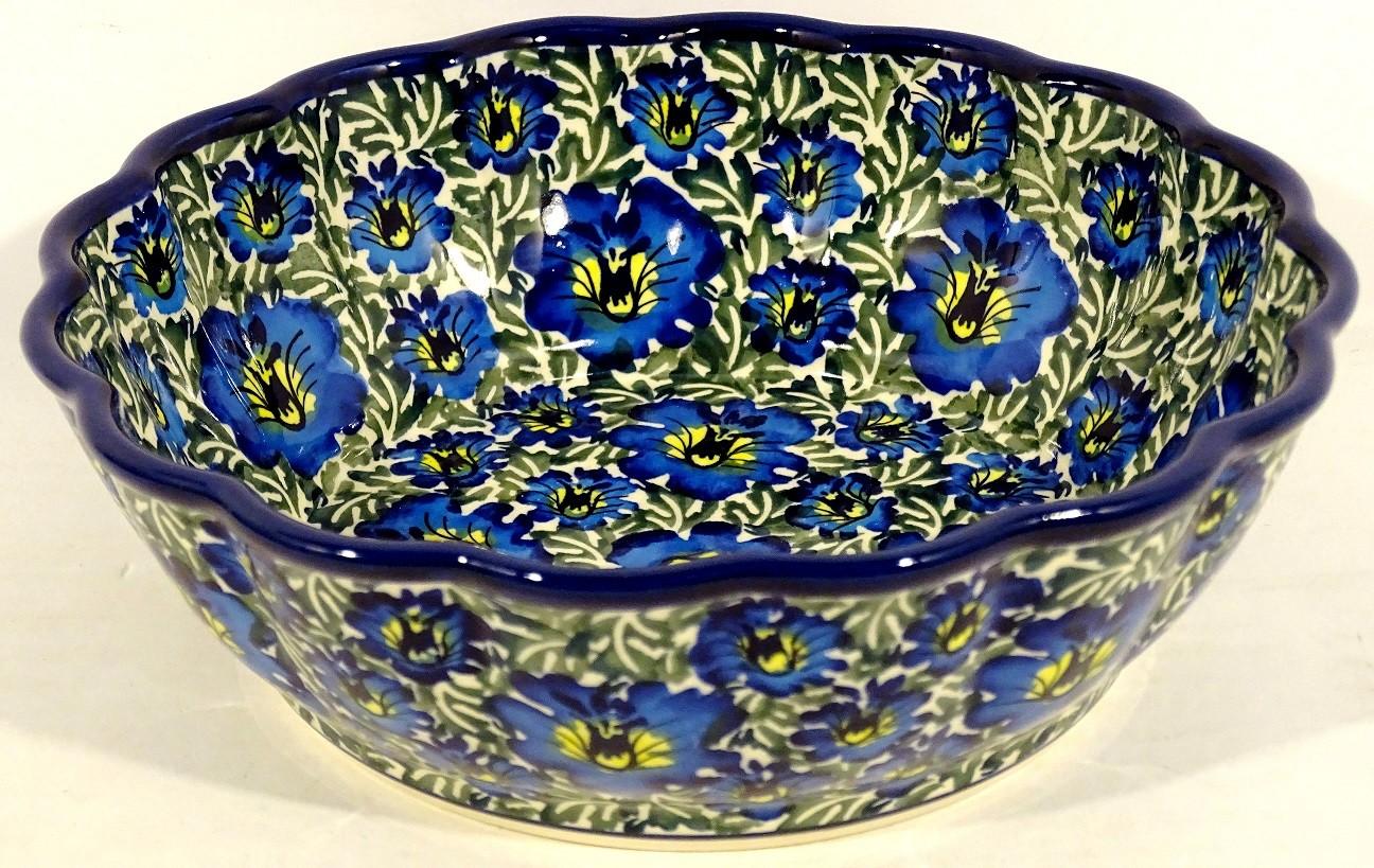 Polish Pottery BLUE LAGOON Scalloped Stoneware Serving Bowl | UNIKAT