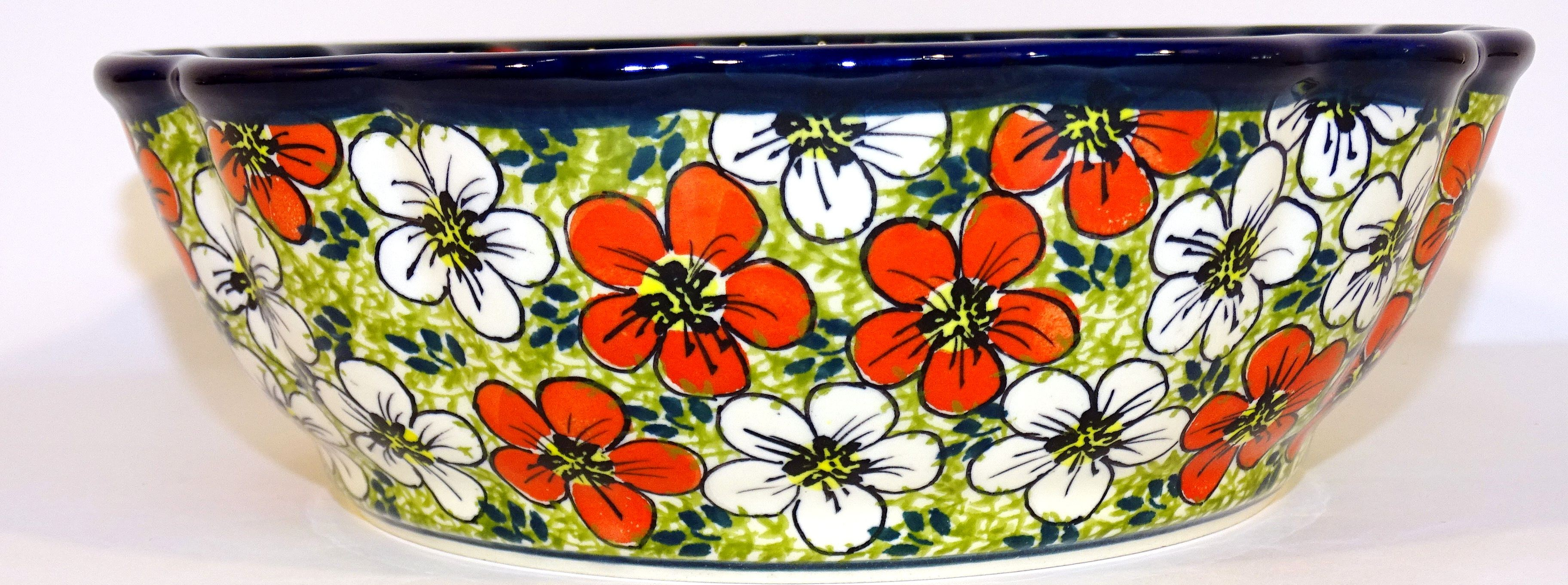 Polish Pottery RED BACOPA Scalloped Stoneware Serving Bowls | UNIKAT