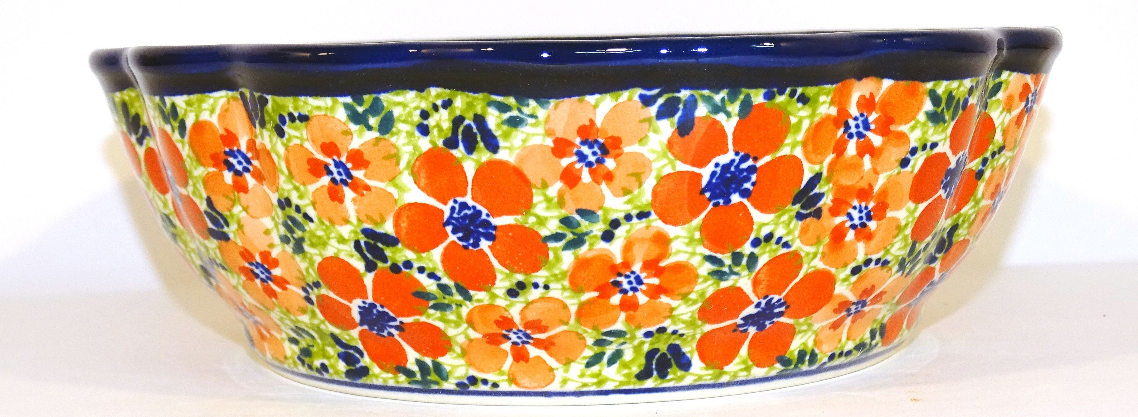 Polish Pottery LOVE Scalloped Stoneware Serving Bowl | ARTISAN