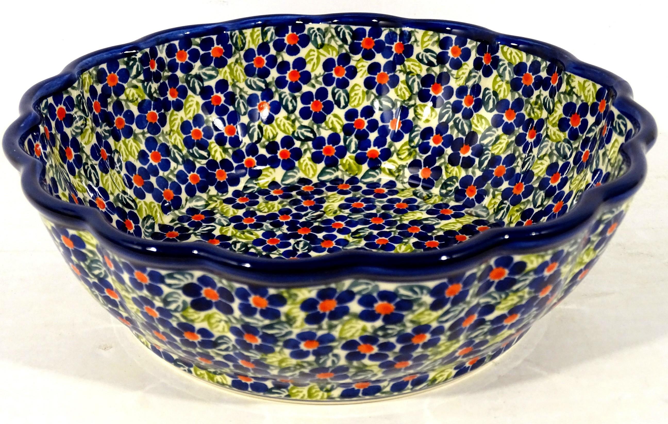 Polish Pottery FRIENDSHIP Scalloped Stoneware Serving Bowl | ARTISAN