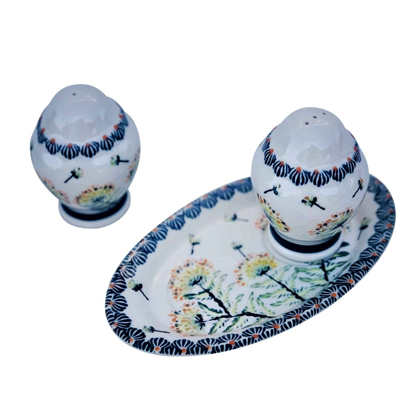 Pottery Avenue Wish 3pc Stoneware Salt and Pepper with Tray - 1284-961-DU201 Wish