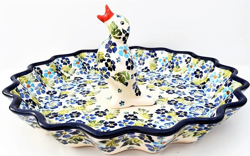 """Pottery Avenue TRUE BLUES 13"""" Stoneware Pie-Quiche Stoneware Dish with Pie Bird"""