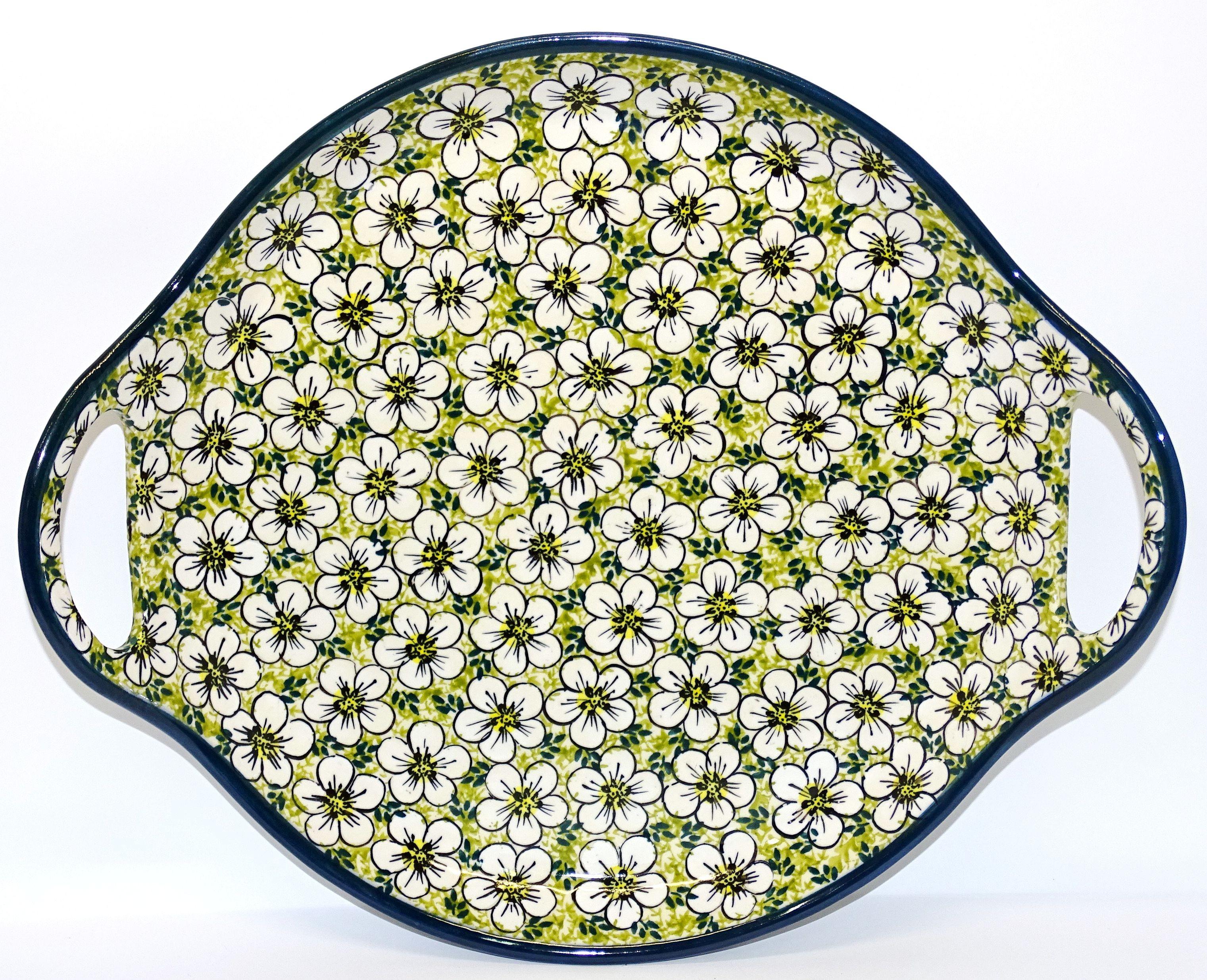 "Polish Pottery BACOPA 12.5"" Round Stoneware Handled Platter | UNIKAT"