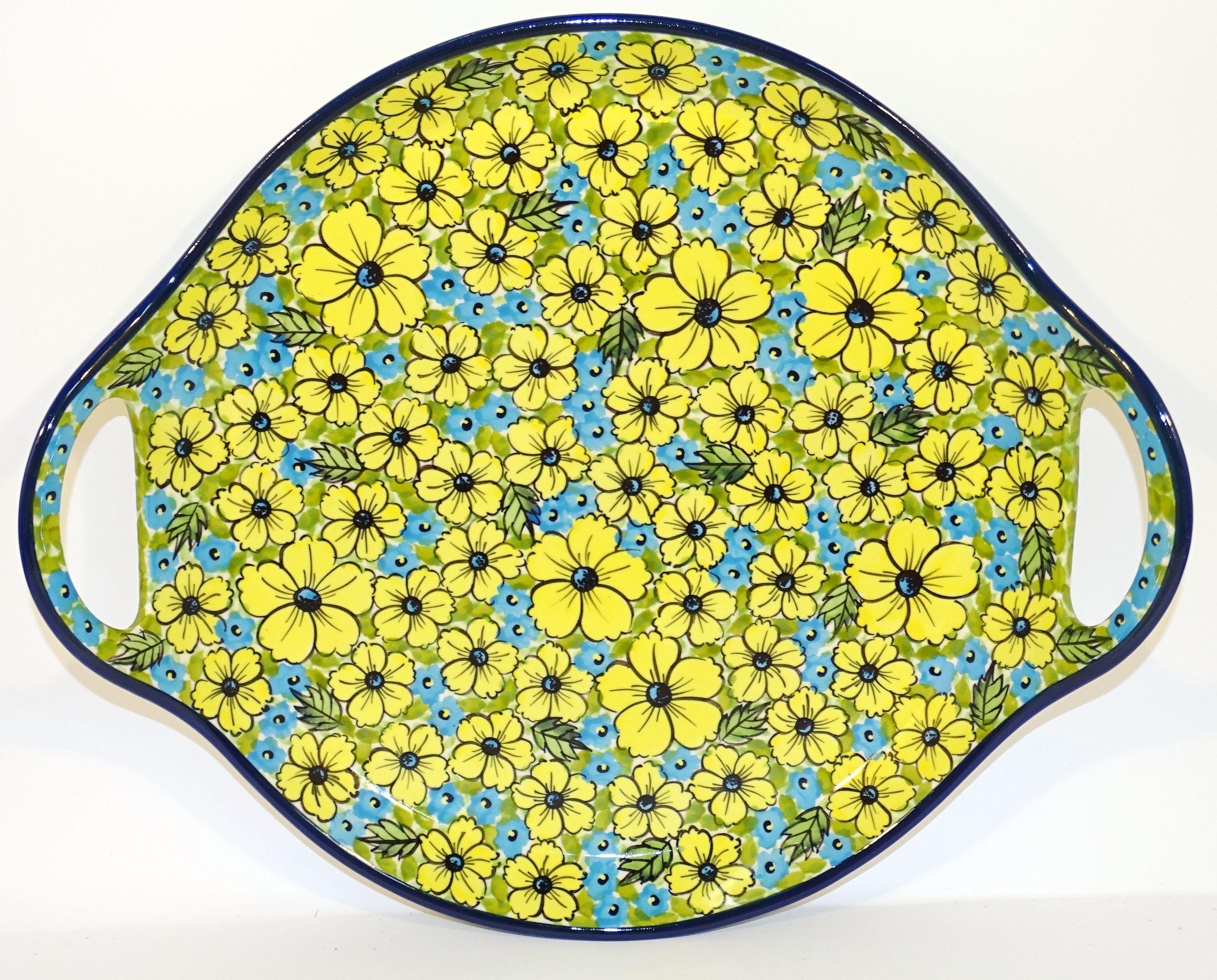 "Polish Pottery CITRINE 12.5"" Round Stoneware Handled Platter |"