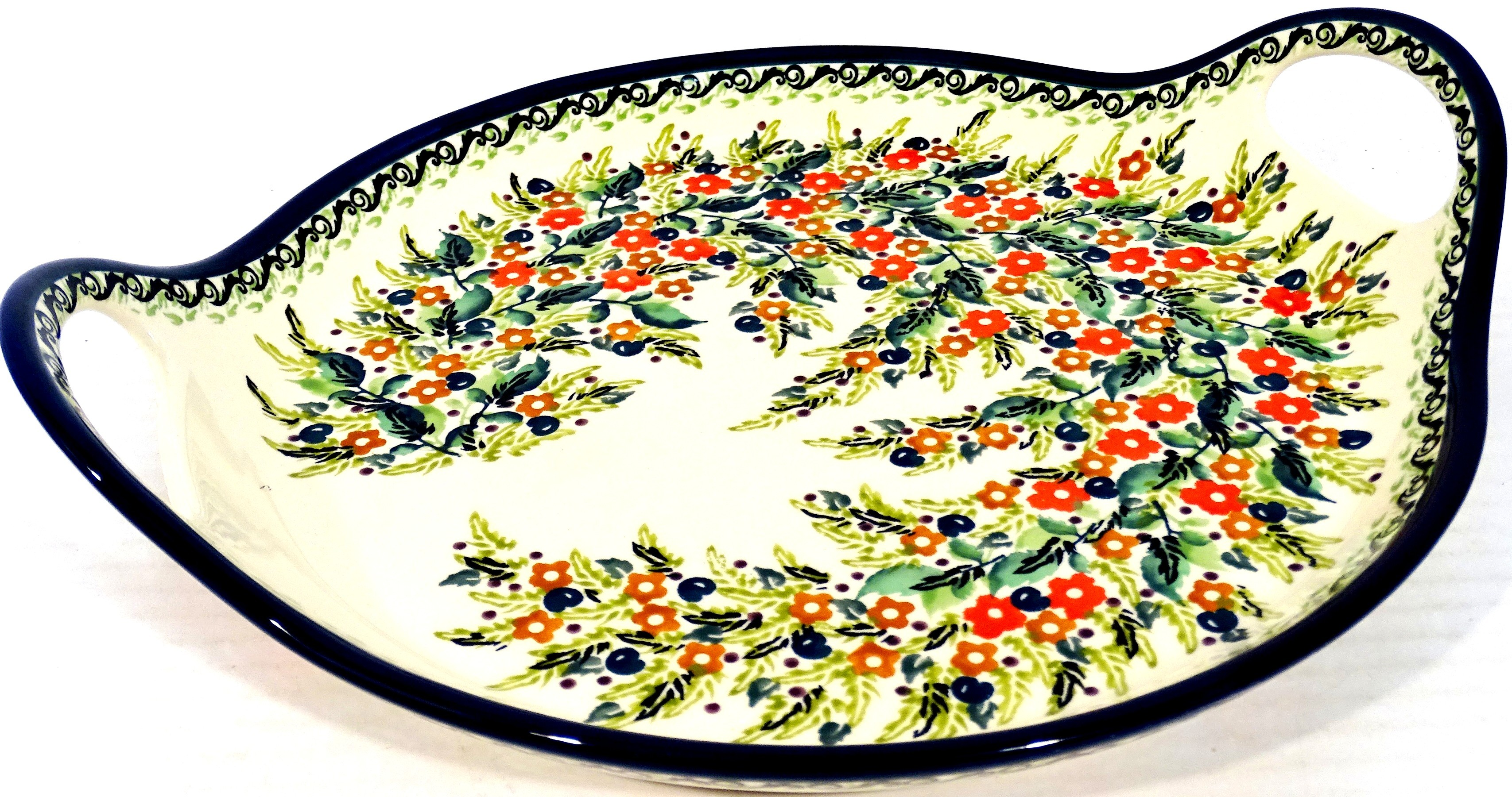 POLISH POTTERY STONEWARE SEASONS TRAY | UNIKAT