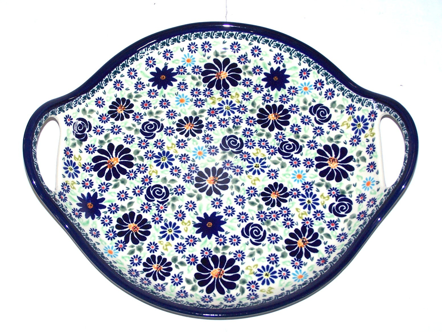 "Polish Pottery 4TH OF JULY 12.5"" Round Stoneware Handled Platter 